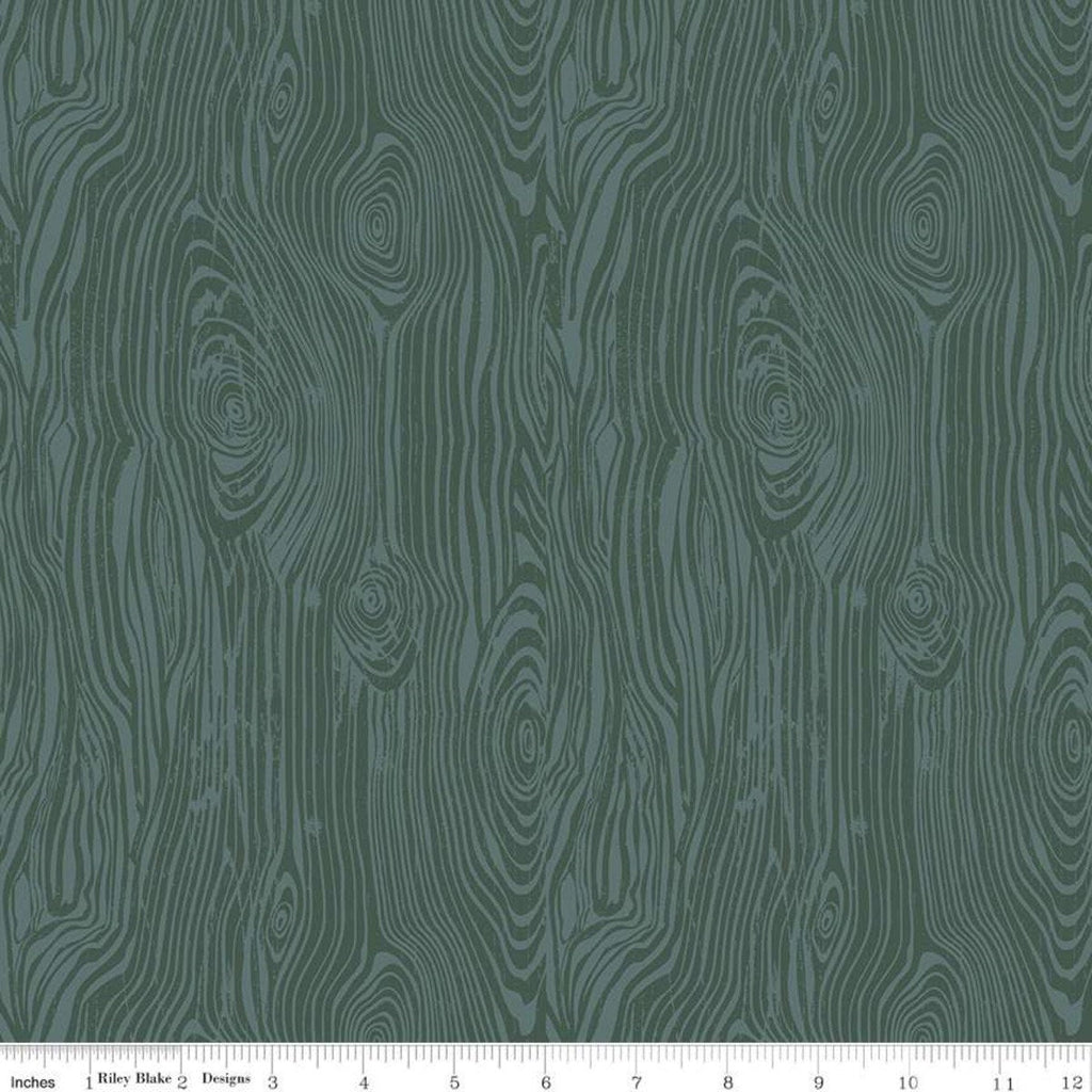 SALE My Heritage Faux Bois C9793 Teal - Riley Blake Designs - Green Tone on Tone Woodgrain False Wood  - Quilting Cotton Fabric