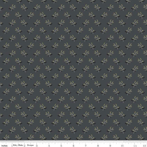 SALE My Heritage Branches C9794 Gray - Riley Blake Designs - Sprigs Leaves Berries  - Quilting Cotton Fabric