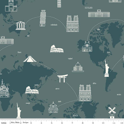 SALE My Heritage Map C9797 Teal - Riley Blake Designs - World Map Countries Landmarks Green  - Quilting Cotton Fabric