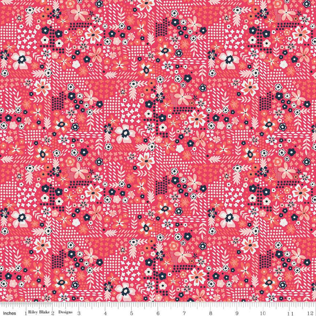 SALE Golden Aster Garden C9845 Dark Pink - Riley Blake Designs - Floral Flowers Leaves Dots Pink Cream Gray - Quilting Cotton Fabric