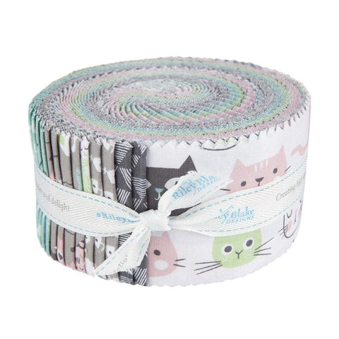 Purrfect Day 2.5-Inch Rolie Polie Jelly Roll 40 pieces Riley Blake Designs - Precut Bundle - Cat Cats - Quilting Cotton Fabric
