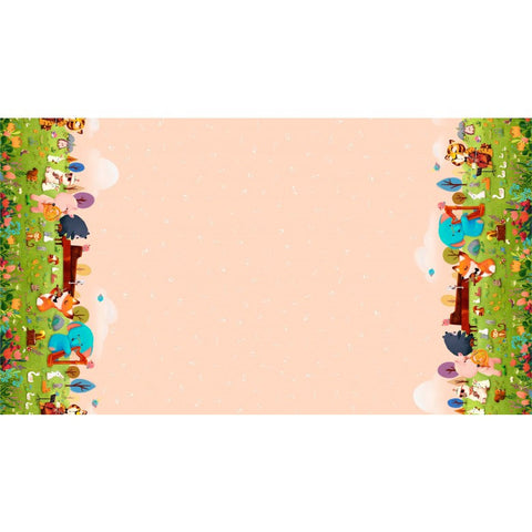 Woodland Musicians Musical Festival DDC9015 Melon - The Little Red House for Michael Miller - Double Border Orange - Quilting Cotton Fabric