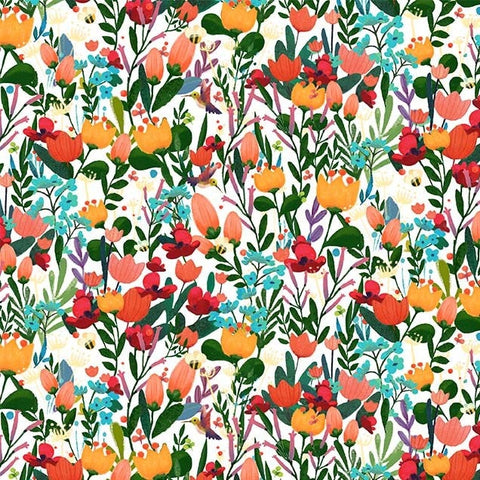 Woodland Musicians Flower Fusion DC9014 Bright White - The Little Red House for Michael Miller - Floral - Quilting Cotton Fabric