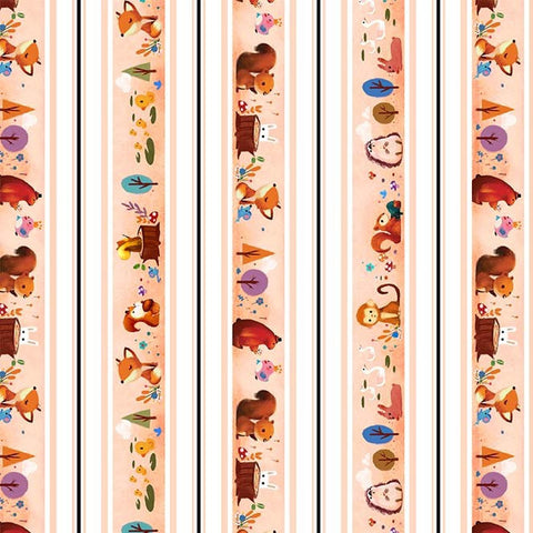 Woodland Musicians Woodland Animals DC9016 Melon by Michael Miller - Animals Music Musical Instruments Orange - Quilting Cotton Fabric