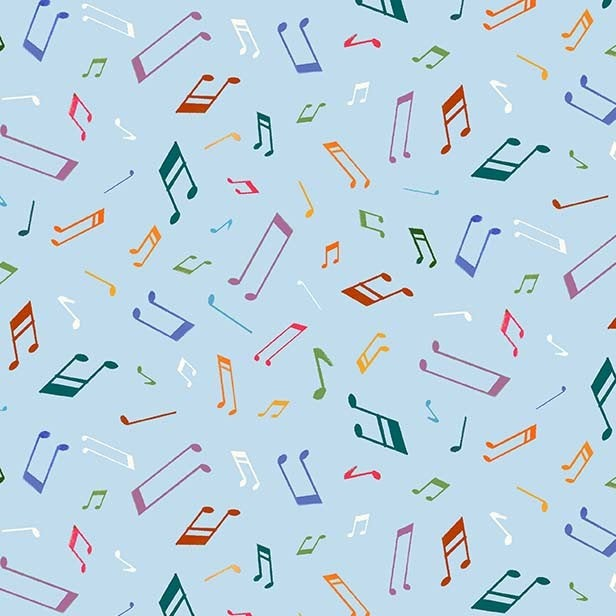 Woodland Musicians Musical Notes DC9013 Breeze - The Little Red House for Michael Miller - Musical Notes Blue  - Quilting Cotton Fabric