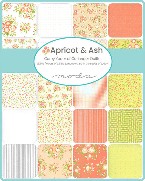 Apricot and Ash 2.5-Inch Jelly Roll Rolie Polie 40 pieces - Moda - Precut Bundle - Floral Flowers - Quilting Cotton Fabric