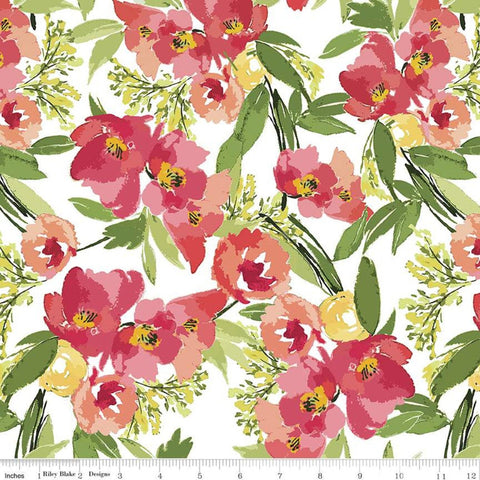 SALE Glohaven Main C9830 White - Riley Blake Designs - Flowers Floral -  Quilting Cotton Fabric