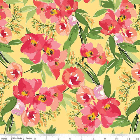 SALE Glohaven Main C9830 Yellow - Riley Blake Designs - Flowers Floral - Quilting Cotton Fabric
