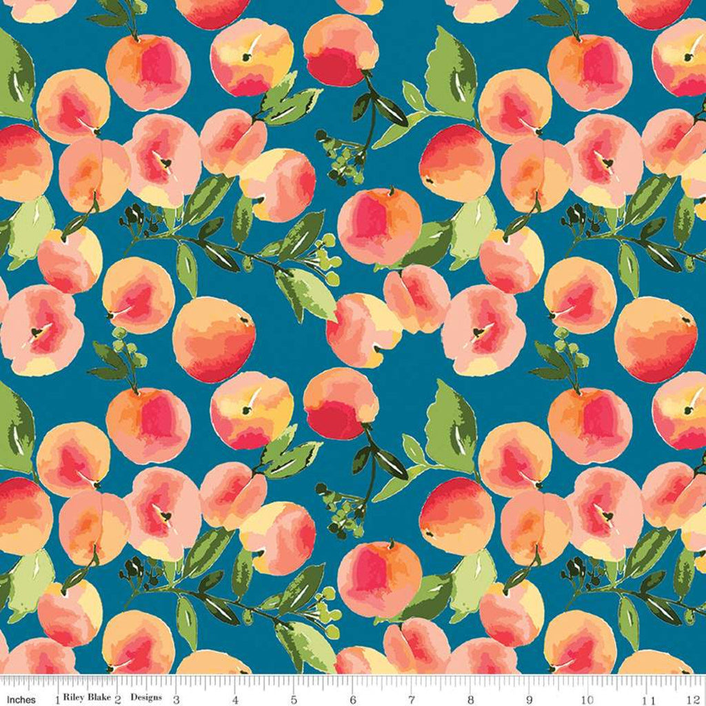 Glohaven Peaches C9831 Blue - Riley Blake Designs - Fruit Leaves -  Quilting Cotton Fabric