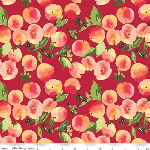 SALE Glohaven Peaches C9831 Red - Riley Blake Designs - Fruit Leaves -  Quilting Cotton Fabric