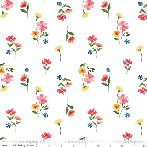 SALE Glohaven Flowers C9832 White - Riley Blake Designs - Floral -  Quilting Cotton Fabric