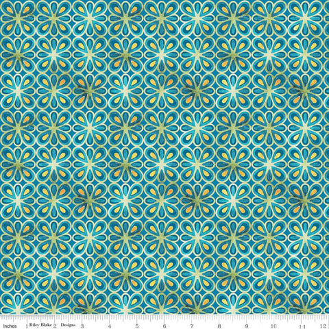 SALE Glohaven Petals C9836 Blue - Riley Blake Designs - Geometric Floral Medallions Flowers - Quilting Cotton Fabric