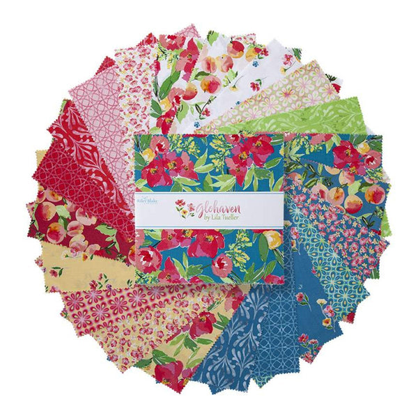 "Glohaven Layer Cake 10"" Stacker Bundle - Riley Blake Designs - 42 piece Precut Pre cut - Floral - Quilting Cotton Fabric"
