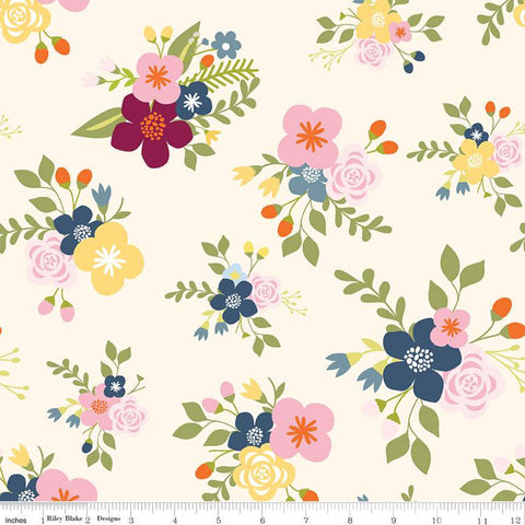 SALE Bloom and Grow Main C10110 Cream - Riley Blake Designs - Floral Flowers -  Quilting Cotton Fabric