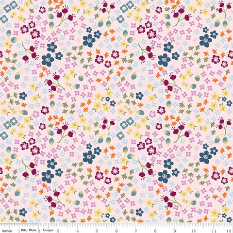 Bloom and Grow Floral C10112 Pink - Riley Blake Designs - Small Flowers -  Quilting Cotton Fabric