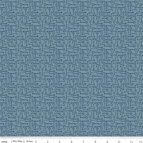 SALE Bloom and Grow Keys C10114 Blue - Riley Blake Designs - Antique Keys Tone on Tone - Quilting Cotton Fabric