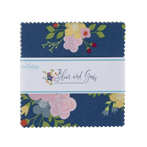 "Bloom and Grow Charm Pack 5"" Stacker Bundle - Riley Blake Designs - 42 piece Precut Pre cut - Flowers Floral - Quilting Cotton Fabric"