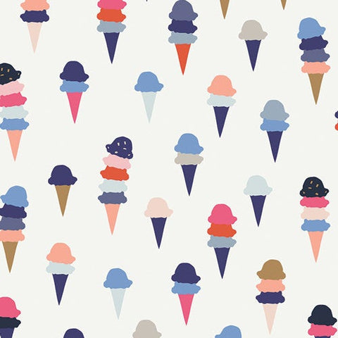 KNIT Art District I Scream You Scream District by Art Gallery - Ice Cream Cones White - Jersey KNIT cotton stretch fabric - choose your cut