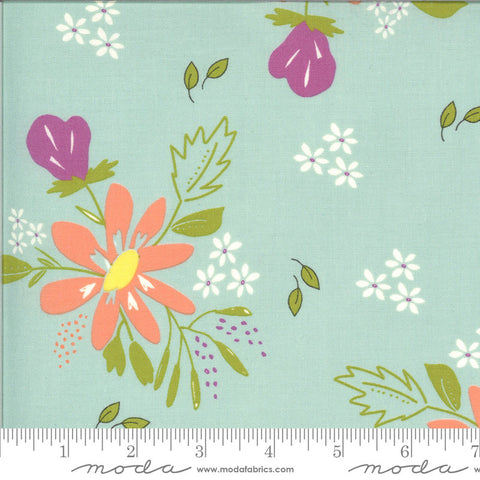 Balboa Coastal 37590 Ice - Moda Fabrics - Floral Flowers Blue Aqua - Quilting Cotton Fabric