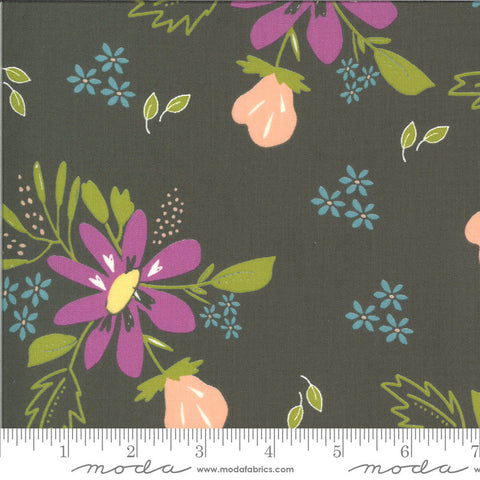 Balboa Coastal 37590 Charcoal - Moda Fabrics - Floral Flowers Gray - Quilting Cotton Fabric