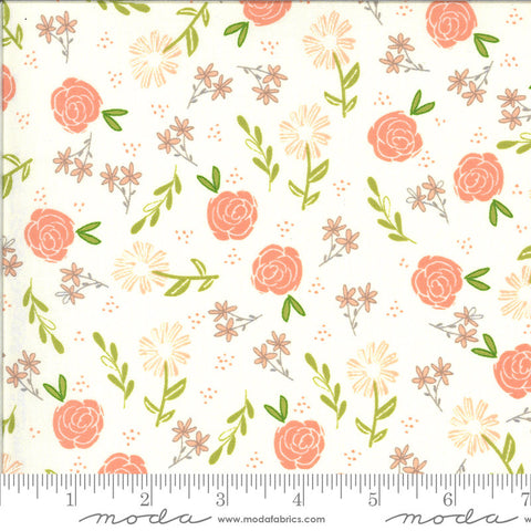 Balboa Wild Rose 37591 Ivory - Moda Fabrics - Floral Flowers Natural Off-White - Quilting Cotton Fabric