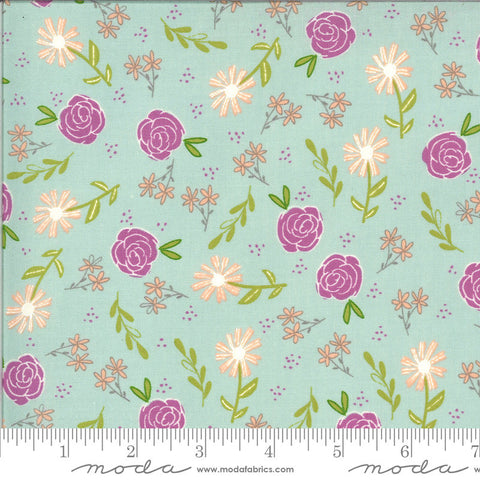 Balboa Wild Rose 37591 Ice - Moda Fabrics - Floral Flowers Blue Aqua - Quilting Cotton Fabric