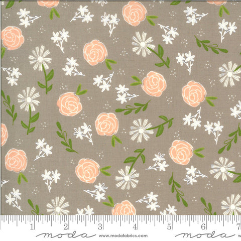 Balboa Wild Rose 37591 Slate - Moda Fabrics - Floral Flowers Gray - Quilting Cotton Fabric