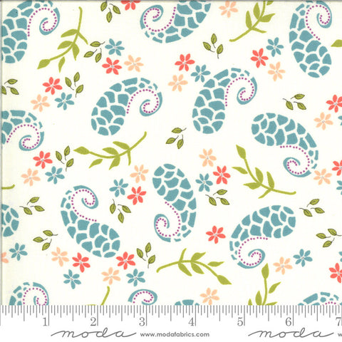 Balboa Marina 37592 Ivory - Moda Fabrics - Paisley Flowers Leaves Natural Off-White - Quilting Cotton Fabric