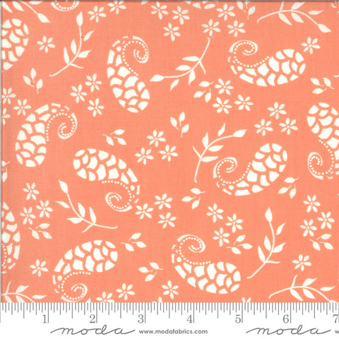 Balboa Marina 37592 Coral - Moda Fabrics - Paisley Flowers Leaves Orange Peach - Quilting Cotton Fabric