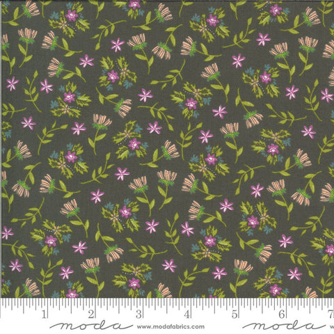 Balboa Primrose 37593 Charcoal - Moda Fabrics - Flowers Floral Gray - Quilting Cotton Fabric