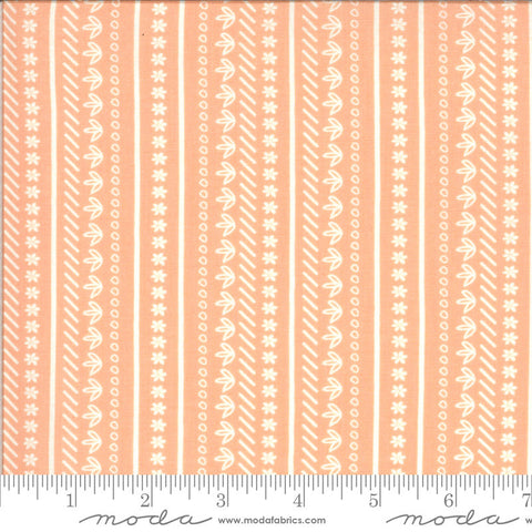 Balboa Sunday Stroll 37595 Coral - Moda Fabrics - Flowers Floral Striped Stripes Peach Orange - Quilting Cotton Fabric