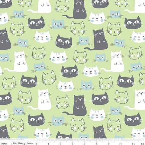 SALE Purrfect Day Main C9900 Green - Riley Blake Designs - Cat Cats Kittens Green Blue White Gray - Quilting Cotton Fabric