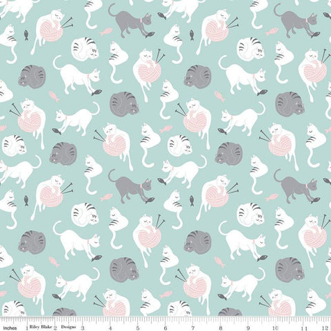SALE Purrfect Day Yarn C9901 Aqua - Riley Blake Designs - Cat Cats Kittens Knitting Needles Fish Blue White - Quilting Cotton Fabric