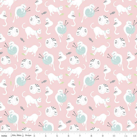 Purrfect Day Yarn C9901 Pink - Riley Blake Designs - Cat Cats Kittens Knitting Needles Fish White Aqua Blue Gray - Quilting Cotton Fabric