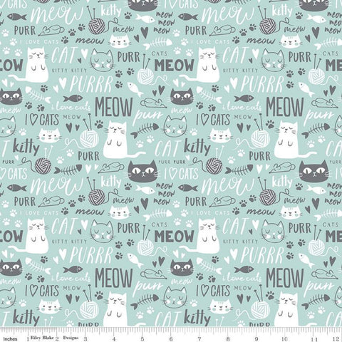 Purrfect Day Text C9902 Aqua - Riley Blake Designs - Cat Cats Kittens Words Yarn Fish Mice Blue Gray White - Quilting Cotton Fabric