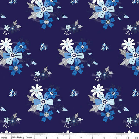 Blue Stitch Main C10060 Navy - Riley Blake Designs - Flowers Floral Blue -  Quilting Cotton Fabric