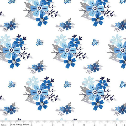 Blue Stitch Main C10060 White - Riley Blake Designs - Flowers Floral -  Quilting Cotton Fabric