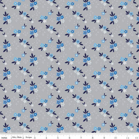 Blue Stitch Ditsy C10061 Gray - Riley Blake Designs - Flowers Floral -  Quilting Cotton Fabric