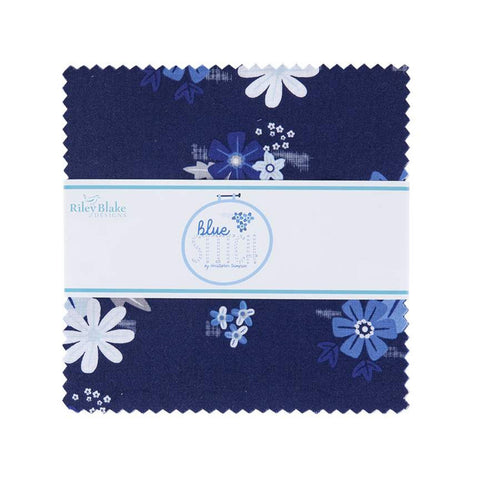 "Blue Stitch Charm Pack 5"" Stacker Bundle - Riley Blake Designs - 42 piece Precut Pre cut - Floral - Quilting Cotton Fabric"