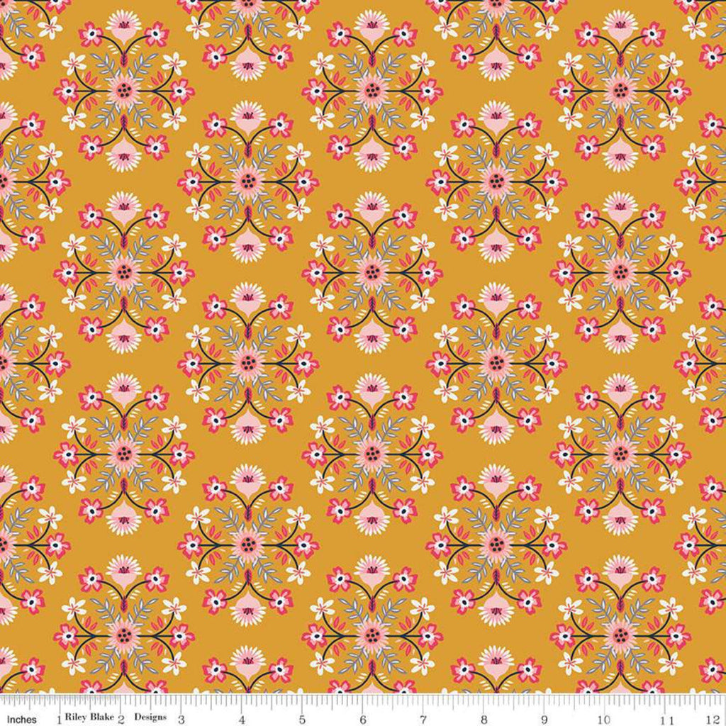 Golden Aster Motif C9841 Mustard - Riley Blake Designs - Floral Flowers Damask Like Medallions Gold  - Quilting Cotton Fabric