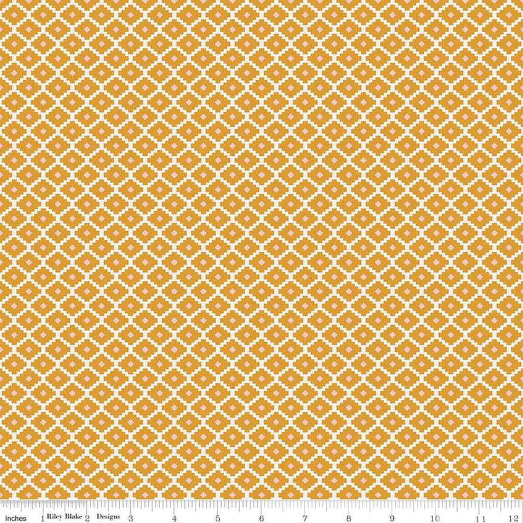Golden Aster Geometric C9846 Mustard - Riley Blake Designs - Diagonal Diamonds Aztec Gold Cream - Quilting Cotton Fabric