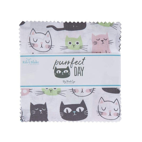 "Purrfect Day Charm Pack 5"" Stacker Bundle - Riley Blake Designs - 42 piece Precut Pre cut - Cats Cat - Quilting Cotton Fabric"