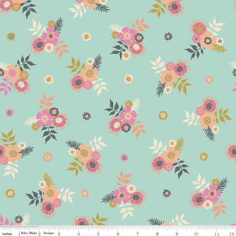 Meadow Lane Posies C10121 Mint - Riley Blake Designs - Floral Flowers Green -  Quilting Cotton Fabric