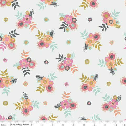 SALE Meadow Lane Posies C10121 Off White - Riley Blake Designs - Floral Flowers - Quilting Cotton Fabric
