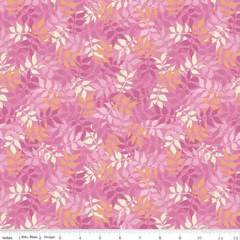 SALE Meadow Lane Leaves C10122 Pink - Riley Blake Designs - Floral Foliage - Quilting Cotton Fabric