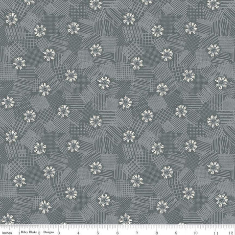 SALE Meadow Lane Scribbled Floral C10123 Gray - Riley Blake Designs - Floral Flowers Tone-on-Tone -  Quilting Cotton Fabric