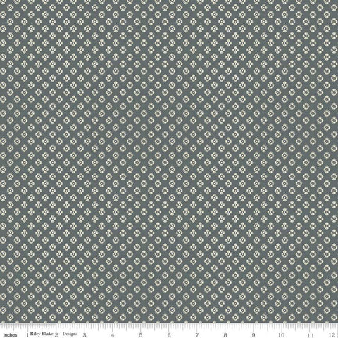 SALE Meadow Lane Dashed Daisies C10124 Gray - Riley Blake Designs - Floral Flowers Daisy Geometric -  Quilting Cotton Fabric
