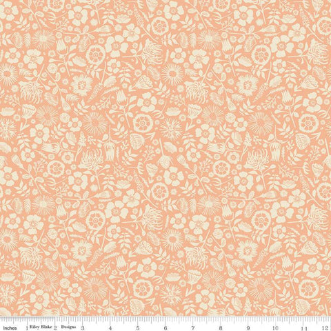 Meadow Lane Floral Imprint C10125 Melon - Riley Blake Designs - Floral Cream Flowers Leaves on Orange -  Quilting Cotton Fabric