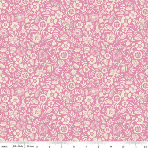 Meadow Lane Floral Imprint C10125 Pink - Riley Blake Designs - Floral Cream Flowers Leaves -  Quilting Cotton Fabric