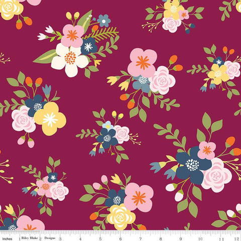 SALE Bloom and Grow Main C10110 Burgundy - Riley Blake Designs - Floral Flowers Purple Pink -  Quilting Cotton Fabric